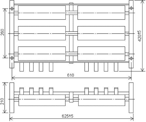 Габаритно-присоединительные размеры блоков резисторов Б6 У2