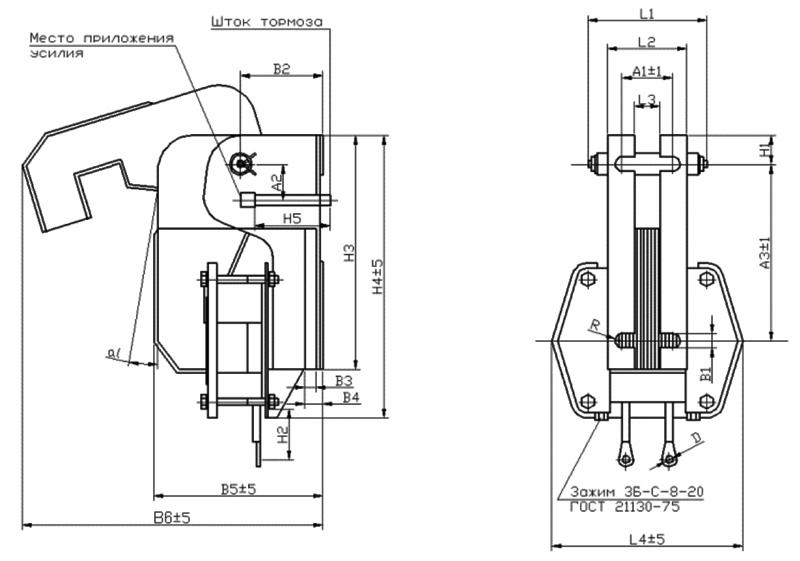 Габаритные и присоединительныеразмеры электромагнитов МО