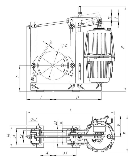 Габаритные и присоединительные размеры тормозов ТКГ