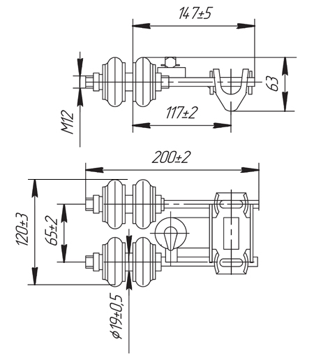 Токоприемник ТК-12Б, ТК-12В - габаритные и присоединительные размеры