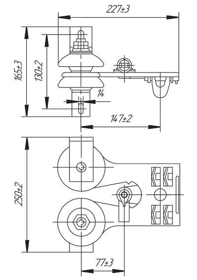 Токоприемник ТКН-12Б, ТКН-12В - габаритные и присоединительные размеры