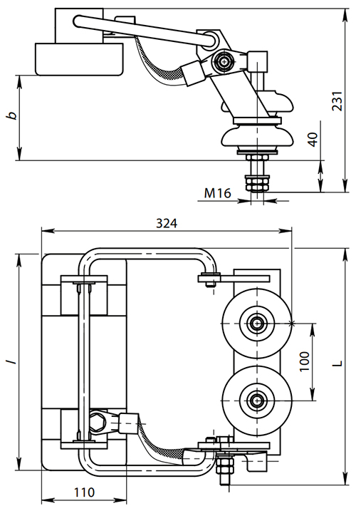 Токоприемник ТКН-9А - габаритные и присоединительные размеры