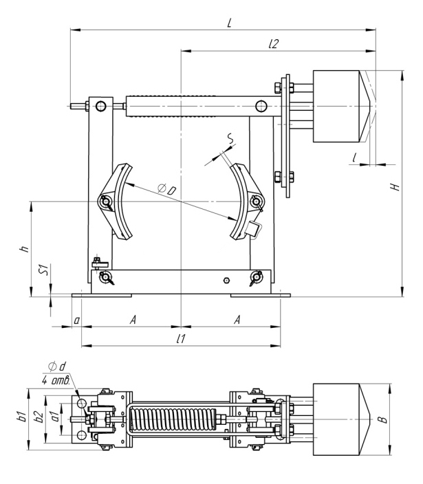 Габаритные и присоединительные размеры тормозов ТКП