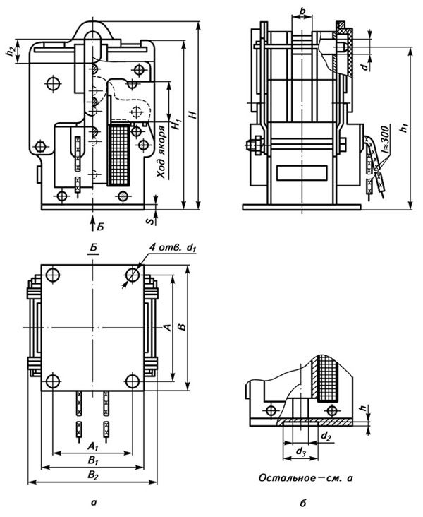 Габаритные и присоединительные размеры электромагнита ЭМ33 со степенью защиты IP00