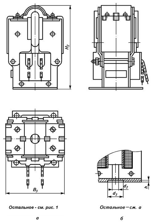 Габаритные и присоединительные размеры электромагнита ЭМ33 со степенью защиты IP20