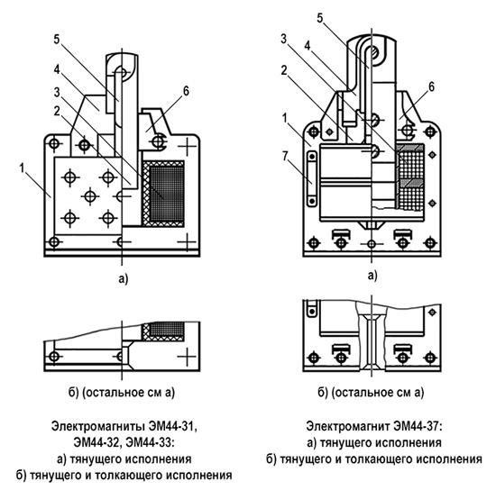 Конструкция электромагнитов ЭМ44