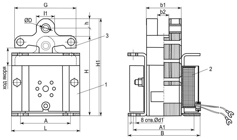 Электромагнит ЭМИС 1, 3, 4, 5 габарита тянущего исполнения - размеры