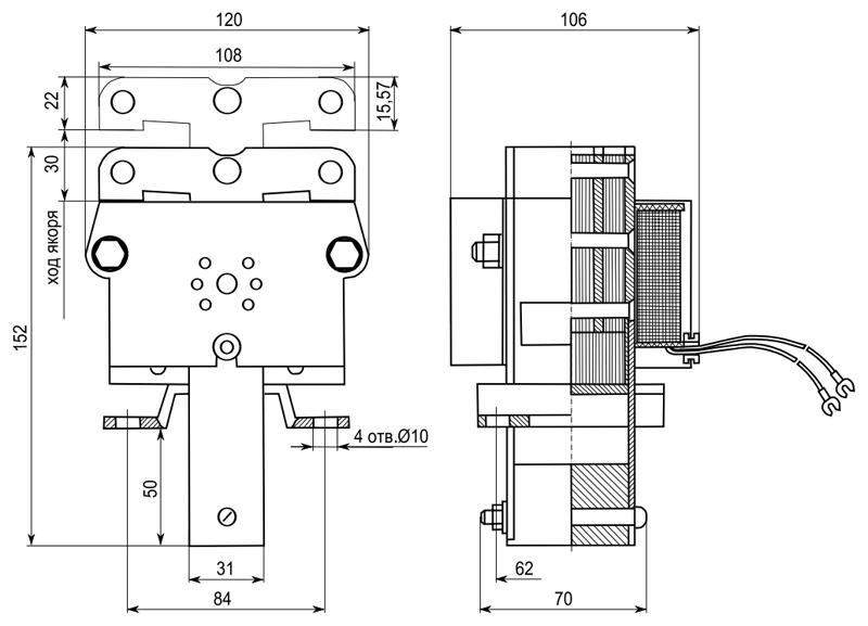 Электромагнит ЭМИС 6 габарита толкающего исполнения - размеры
