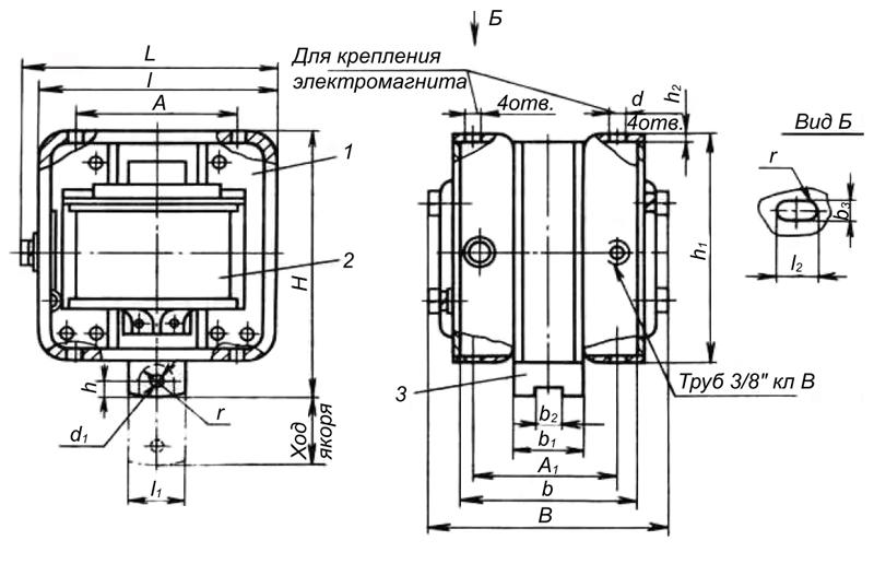 Электромагнит МИС 1, 2, 3, 4 габарита тянущего исполнения - размеры