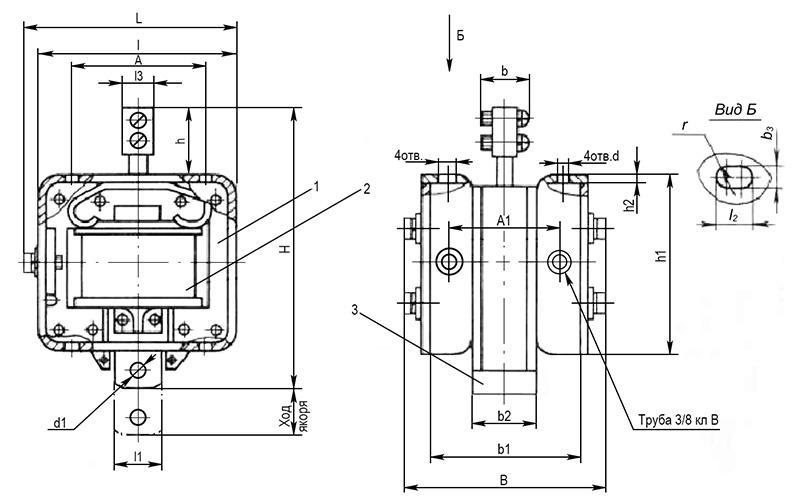 Электромагнит МИС 1, 2, 3 габарита толкающего исполнения - размеры