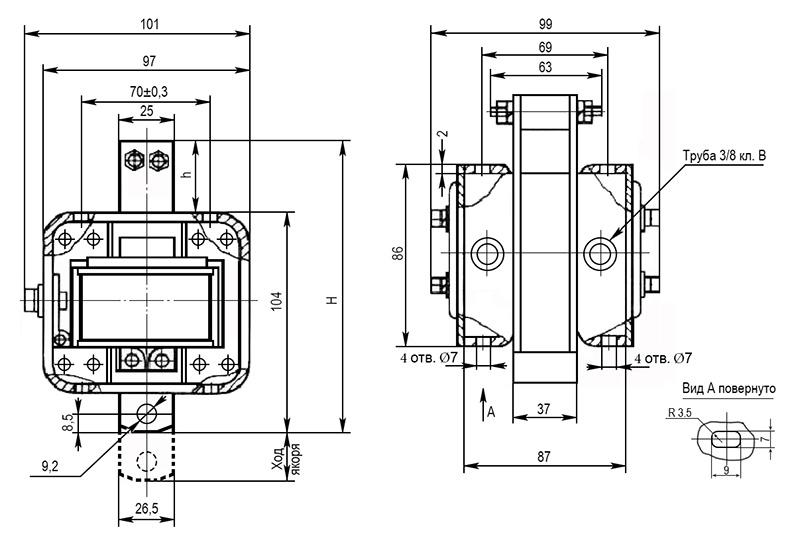 Электромагнит МИС 4 габарита толкающего исполнения - размеры