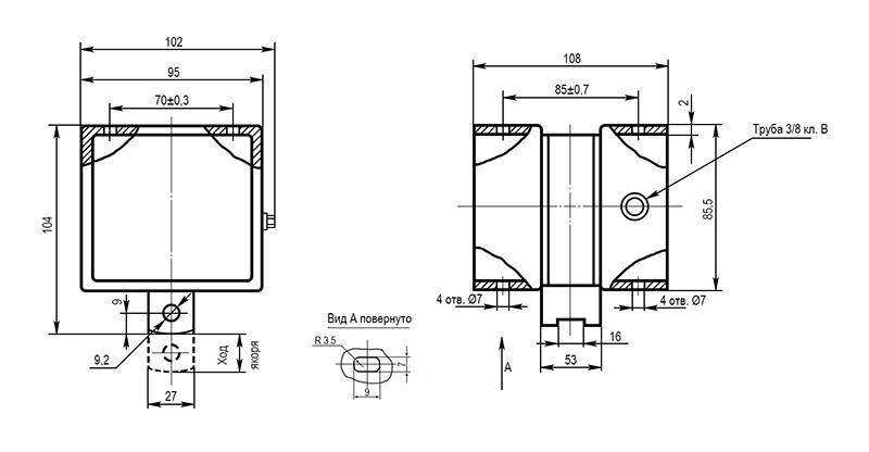 Электромагнит МИС 5 габарита тянущего исполнения - размеры