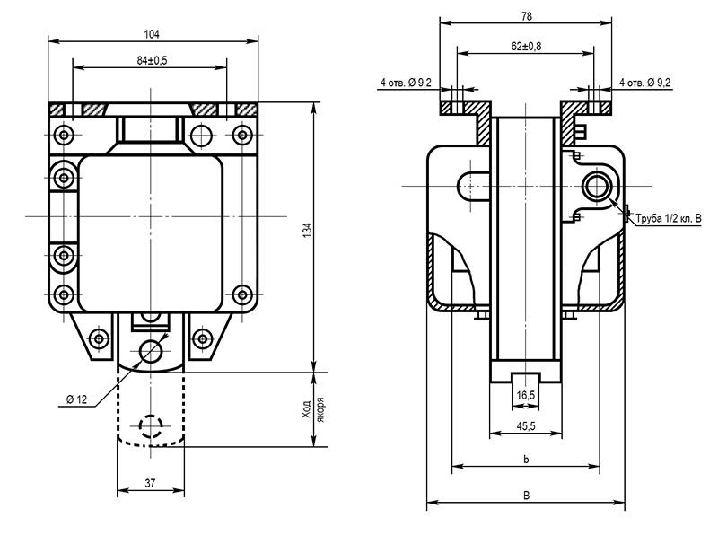 Электромагнит МИС 6 габарита тянущего исполнения - размеры