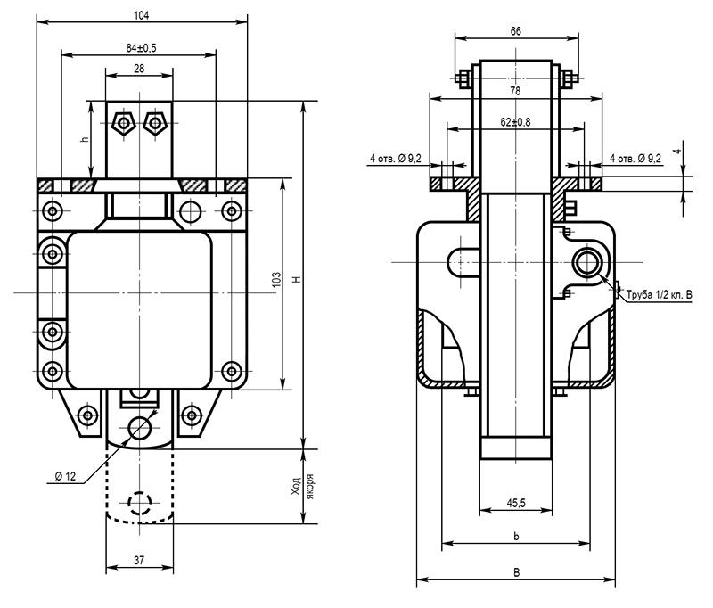 Электромагнит МИС 6 габарита толкающего исполнения - размеры